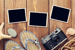 Travel and vacation photos and items. Travel and vacation photo frames and items. Top view. Toned Royalty Free Stock Photography