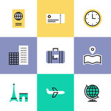 Travel and vacation pictogram icons set vector illustration