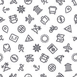 Travel and Vacation Seamless Pattern. Travel and Vacation Icons Seamless Background. Editable pattern in swatches. Clipping paths included in JPG file Royalty Free Stock Photos