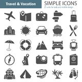 Travel and vacation simple icons set for web and mobile design. Travel and vacation simple icons set for web and mobile Royalty Free Stock Photo
