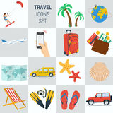 Travel vacation square 15 icons Stock Photography