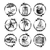 Travel and vacation stamp collection - for your Stock Photo
