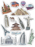 Travel and vacation stickers set Royalty Free Stock Photography