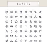 Travel and Vacation Stroke Icons Set Royalty Free Stock Photography
