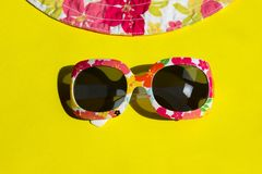 Travel, Vacation, Summer Concept. Sunglasses On Yellow Background. Studio Shot Of Colorful Sunglasses. Summer Is Coming Soon. Travel, Vacation, Summer Concept royalty free stock photos