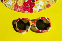 Travel, Vacation, Summer Concept. Sunglasses On Yellow Background. Studio Shot Of Colorful Sunglasses. Summer Is Coming Soon. Travel, Vacation, Summer Concept stock images