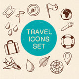 Travel and vacation symbols set. Stock Images