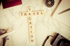 Travel Vacation text on marble Stock Images