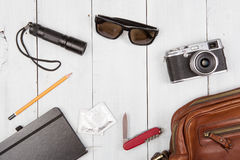 Travel,vacation, tourism  concept - set of cool stuff with camer Stock Photography