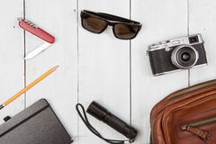 Travel,vacation, tourism  concept - set of cool stuff with camer Stock Images