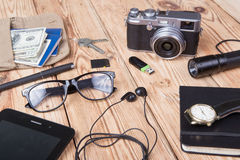 Travel,vacation, tourism  concept - set of cool stuff with camer Stock Image