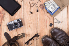 Travel,vacation, tourism  concept - set of cool stuff with camer Stock Photo