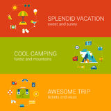Travel vacation tourism holiday flat web banners template set. Flat travel, vacation, tourism and holiday concept icons in banners template set. Splendid trip Stock Illustration