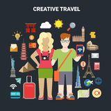 Travel vacation tourism icon smartphone world places vector. Flat style couple online travel vacation tourism social media content sharing lifestyle infographics Royalty Free Stock Photo