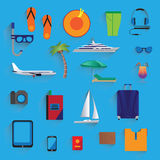 Travel, vacation, tourism. Icons. Travel, vacation, tourism, journey icons set. Elements for design Stock Image