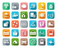 Travel, vacation, tourism, leisure, icons, flat, colored, vector. stock illustration