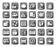 Travel, vacation, tourism, leisure, monochrome icons, flat, grey, vector. royalty free illustration