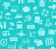 Travel, vacation, tourism, vacation, seamless pattern, blue, color, vector. Different types of holidays and ways of travelling. Blue pictures on a turquoise Royalty Free Stock Photography