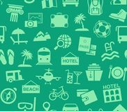 Travel, vacation, tourism, vacation, seamless pattern, green, color, vector. Different types of holidays and ways of travelling. Green pictures on a green field Royalty Free Stock Images