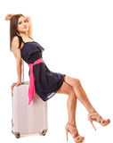 Travel and vacation. Woman with suitcase luggage bag. Stock Image
