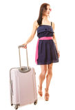 Travel and vacation. Woman with suitcase luggage bag. Royalty Free Stock Image