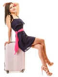 Travel and vacation. Woman with suitcase luggage bag. Royalty Free Stock Photography