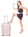 Travel and vacation. Woman with suitcase luggage bag. Royalty Free Stock Images