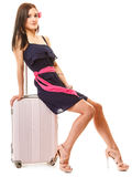 Travel and vacation. Woman with suitcase luggage bag. Stock Photo