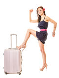 Travel and vacation. Woman with suitcase luggage bag. Royalty Free Stock Photos