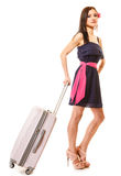 Travel and vacation. Woman with suitcase luggage bag. Stock Images