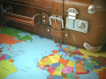 Travel and vacations background concept. Vintage suitcase on the Royalty Free Stock Images