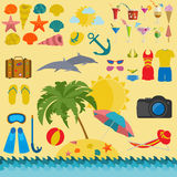Travel. Vacations. Beach resort set icons. Stock Photography