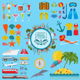 Travel. Vacations. Beach resort set icons. Elements for creating Stock Photography