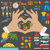 Travel. Vacations. Beach resort set icons. Elements for creating Royalty Free Stock Images