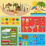 Travel. Vacations. Beach resort set icons. Elements for creating Royalty Free Stock Photography