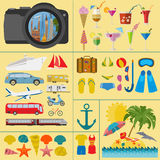 Travel. Vacations. Beach resort set icons. Elements for creating Royalty Free Stock Photo