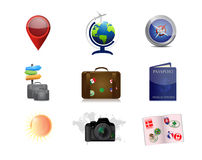 Travel vacations concept icon set illustration. Design over white Royalty Free Stock Image
