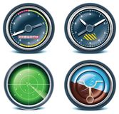 Travel and vacations icons. Part 5. Set of icons representing air traveling and related objects vector illustration