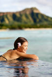 Travel vacations woman on holiday at beach resort Royalty Free Stock Images