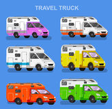 Travel van flat square icon with long shadows. Royalty Free Stock Image