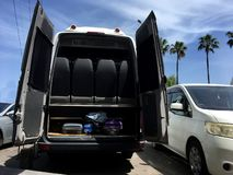 Travel van full of luggage leaving for holidays on a sunny day - traveling concept royalty free stock photo