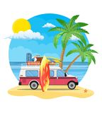 Travel van with surfboard and suitcases. On a beach with palms. Summer tourism, travel, trip and surfer. vector illustration in flat design Royalty Free Stock Photos