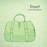Travel vector background in retro green tints. Royalty Free Stock Photos