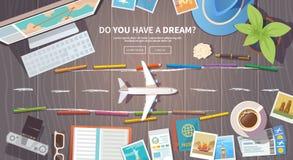 Travel vector banner. Runway Stock Photo