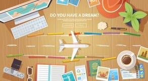 Travel vector banner. Runway Stock Photography