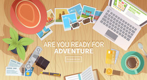 Free Travel Vector Banner. Top View Royalty Free Stock Photos - 67421788