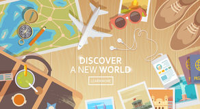 Free Travel Vector Banner. Top View Stock Photography - 67421862
