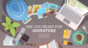 Travel vector banner. Top view Royalty Free Stock Images
