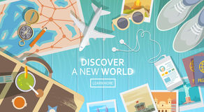 Travel vector banner. Top view Royalty Free Stock Photo