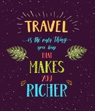 Travel. Vector hand drawn illustration for t-shirt print or poster with hand-lettering quote. Stock Photo